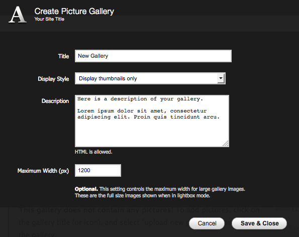 how to add a gallery to a page