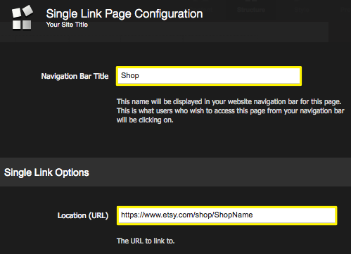Adding an external link to your navigation – Squarespace5